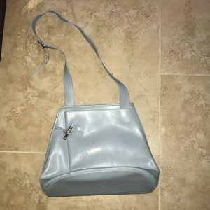 Blue leather longchamp purse